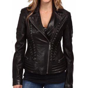 NWT Affliction Leather Moto Lace Up Biker Jacket